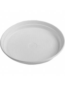 Talíř plastový bílý, Ø 22 cm, 100 ks/balení